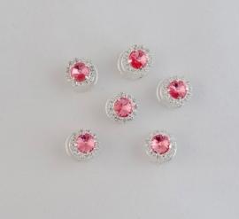 Roze Curlies met Strass 6 st