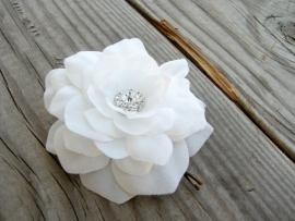 Kleine Haarbloem Wit met Fonkelend Hartje