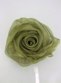 Green/Olive Chiffon Rose Hair Clip & Broche