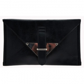 Faux Leather Zwarte Clutch
