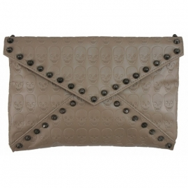 Skull Print Clutch Taupe