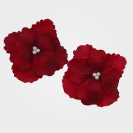 Bordeaux Rode Hortensia Haar Bloemen 2 st