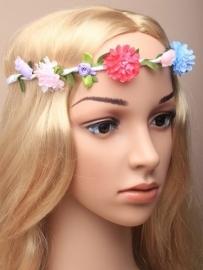 Witte Bloemen Haarband Fuchsia/Blauw/Wit