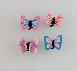 Vlinder Clipjes Roze/Blauw 4 st