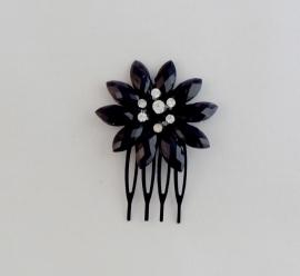 Kleine Zwarte Bloem Haarkam