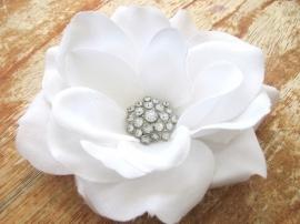 Witte Bruids Roos Haar Clip