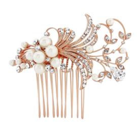 Vintage Inspired Haarkam met Parels Rosé Goud