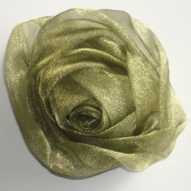 Green/Olive Chiffon Rose Hair Clip & Broche