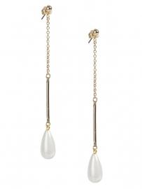 Lange oorbellen met parelmoer pegel /goud