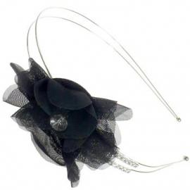 Fonkelende Bloem Haarband Zwart