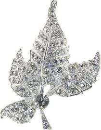 Crystal Oak Leaf Haarclip & Broche