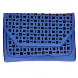 Blauw-Zwarte Laser Cut Clutch