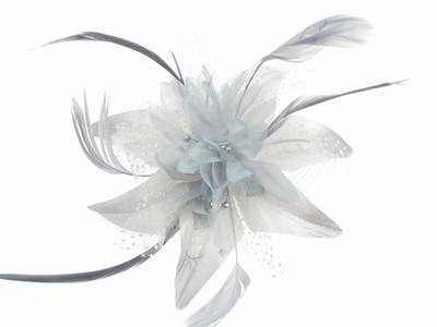 Silver Grey Flower Hair Comb