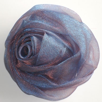 Lilac Blue Chiffon Rose Hair Clip & Broche