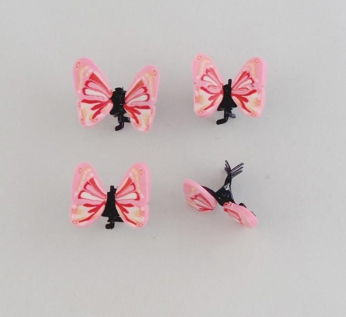 Vlinder Clipjes Roze 4 st