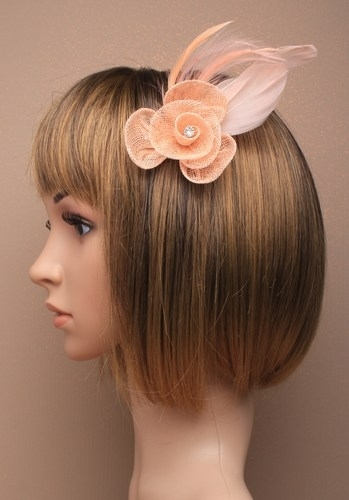 Peach Fascinator met Fonkelende Steen