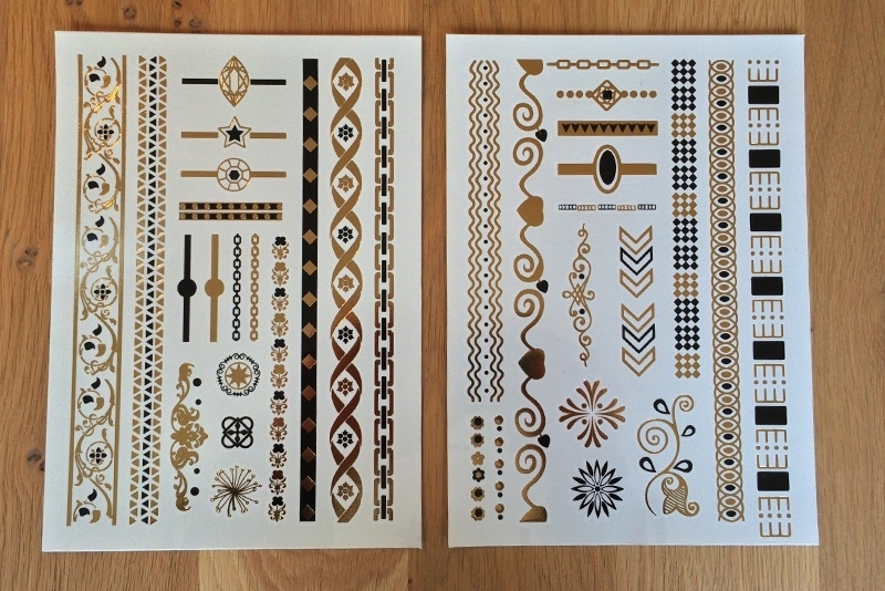 Metallic Tattoos 1 Goud & Zwart
