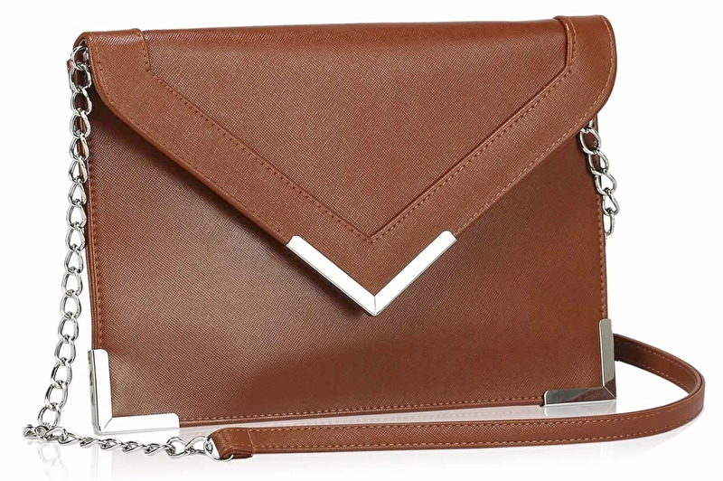 Faux Leather Enveloppe Clutch Bruin