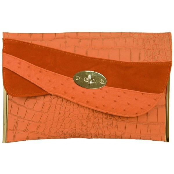 Grote Faux Leather Clutch Oranje