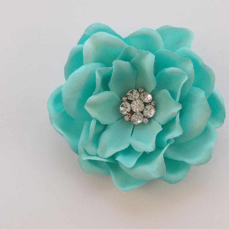 Haarbloem Gardenia met Fonkelend Hartje Tiffany Blue