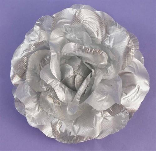 Metallic Zilveren Bloem Haarclip of Corsage