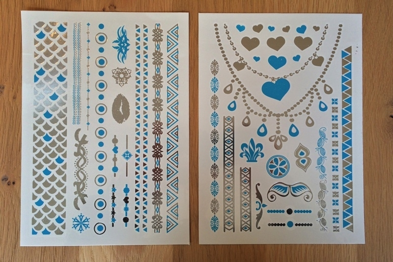 Metallic Tattoos 2 Zilver & Turquoise