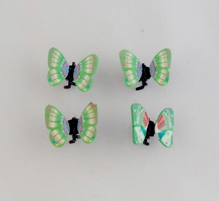 Vlinder Clipjes Groen 4 st