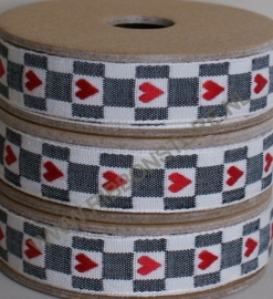 WO12580 Red heart on cream and black check underground ribbon/lint