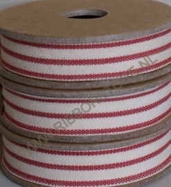 2 stripe cream/red
