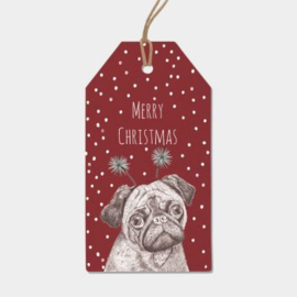 6 pack labels  xmas pug