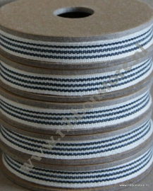 Cream with 3 black stripes narrow ribbon