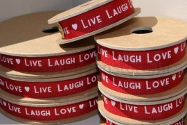 LIVE LAUGH LOVE  RED Ribbon NEW