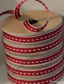 Red with cream middle stitches narrow ribbon