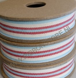Aqua/cream/red deck chair & ladder stripe