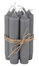 Korte diner Kaars/ Short dinner Candle dark grey 7 pcs