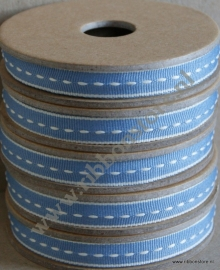 Blue with cream middle stitches narrow ribbon