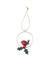 Robin and holly ring  xmas decoration
