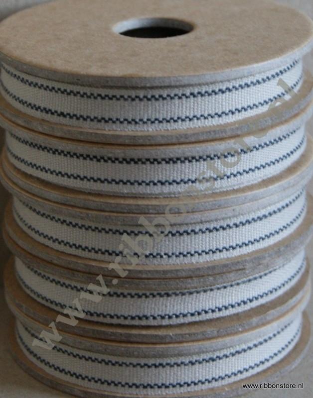 Beige with 2 black stripes narrow ribbon