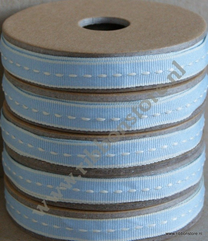 Light Blue with cream middle stitches narrow ribbon