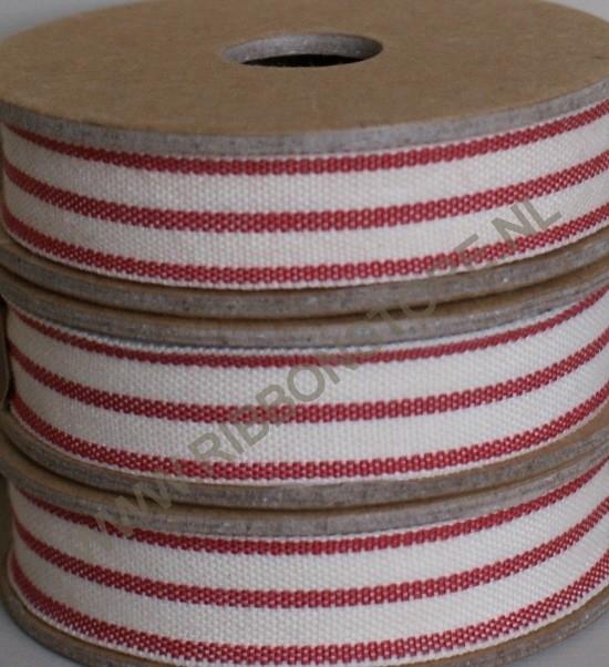 2 stripe cream/red