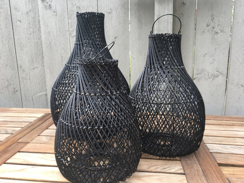 Rotan lamp medium kleur Zwart