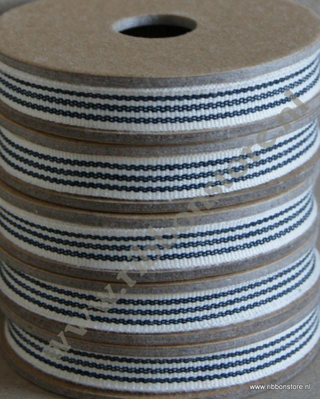 Cream with 3 black stripes narrow ribbon