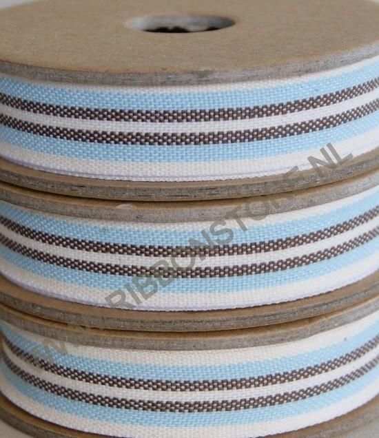 Cream/aqua/brown deck chair & ladder stripe