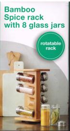 voor uw keuken Bamboo Spice rack/ 8 glazen flesjes / 15x13.5x26 cm/ bamboe kruidenrekje draaibaar/ potjes navulbaar