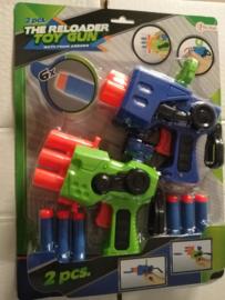 2 pcs The reloader toy gun with foam arrows/ speelgoed geweer met foam kogels/ 2 set/ groen en blauw