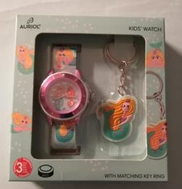 groene schattige kinderhorloge set/ horloge met sleutelhanger/ leuk om als cadeau te geven/ horloge waterdicht tot 3 bar