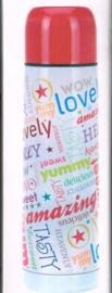 Isoleerfles 12H/ met tekst 24 bij 6 cm/ vacuum bottle / met drukknop/ luchtdicht/ 0,5 L