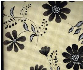 vinyl tafelkleed rechthoekig 200x140 cm/ nappe de table en vynil bruin beige bloemen blokjes