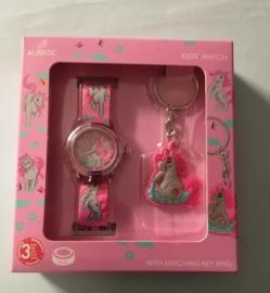 schattige kinderhorloge set/ horloge met sleutelhanger/ leuk om als cadeau te geven/ horloge waterdicht tot 3 bar