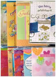 wenskaarten set 10 varia/ diversen met enveloppen/ gedoopt,  tegoedbon, heel veel succes, feliciteren, groetjes, verjaardag, veel liefs etc.